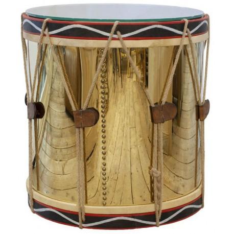 Stolik boczny okrągły bęben drewniany