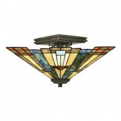 Lampa witrażowa Tiffany w stylu Art Deco - półplafon