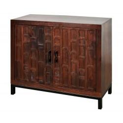 Drewniana komoda brązowa w stylu boho 81x26x71