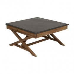 Drewniany stolik kawowy z szufladami blat betonowy