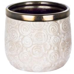 Kremowo biała ceramiczna osłonka na doniczkę