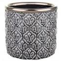 Elegancka szara doniczka ceramiczna-osłonka 12.5x13.5