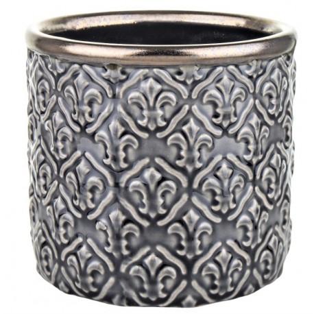 Elegancka szara doniczka ceramiczna-osłonka