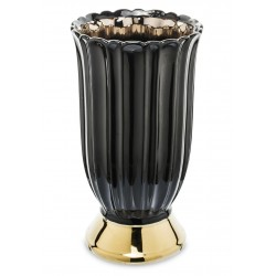 Szklany wazon czarno złoty