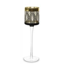 Szklany świecznik świąteczny- czarno złoty