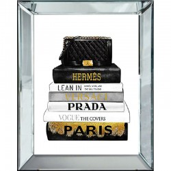 Obraz glamour w lustrzanej ramie Prada
