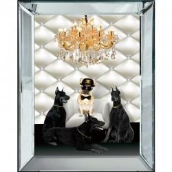 Obraz z buldogiem francuskim glamour w lustrzanej ramie