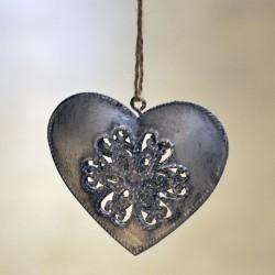 Metalowe ażurowe serce na choinkę