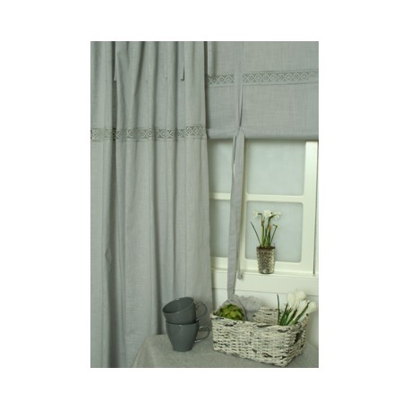 Szara zasłona do salonu i sypialni z  koronką na tasiemkach