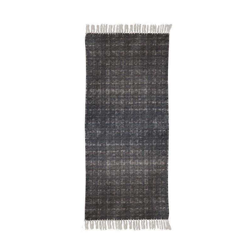 Pleciony dywan z frędzlami. Melanż grafit 160x240