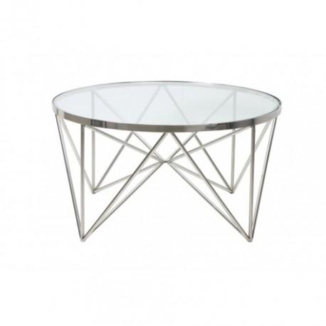 Niklowany szklany okrągły stolik kawowy lub boczny