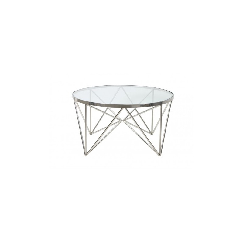 Niklowany  szklany okrągły stolik kawowy Ø 80