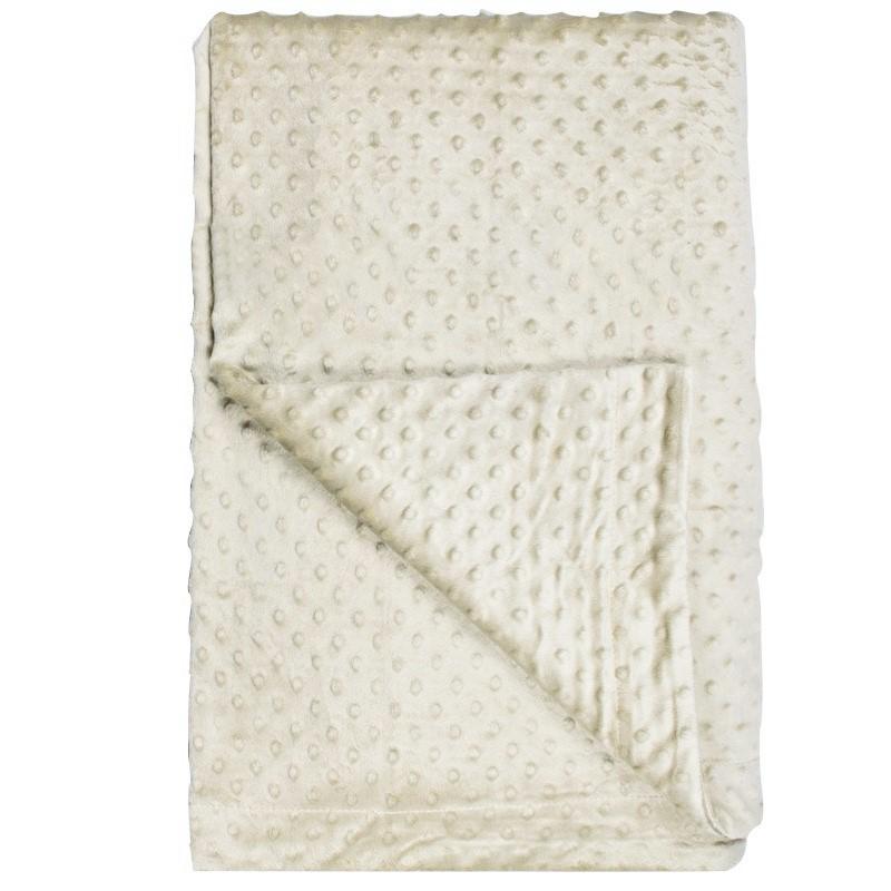 Aksamitna beżowa  narzuta  na łóżko Light Cream