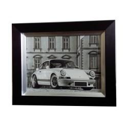 Nowoczesny obraz 52x42 w czarno srebrnej ramie Porsche White 2