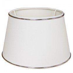 Biały abażur Ø 25 z listwa chromową