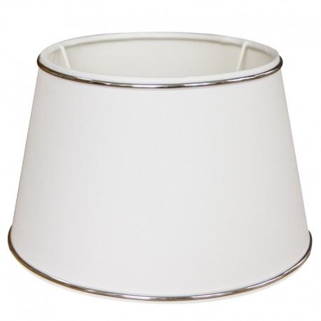 Biały abażur kinkietowy Ø 20 z listwa chromową
