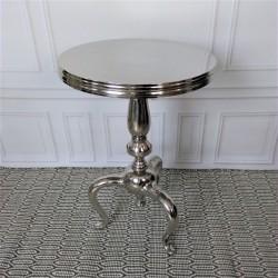 Niklowany stolik boczny do sofy fotela