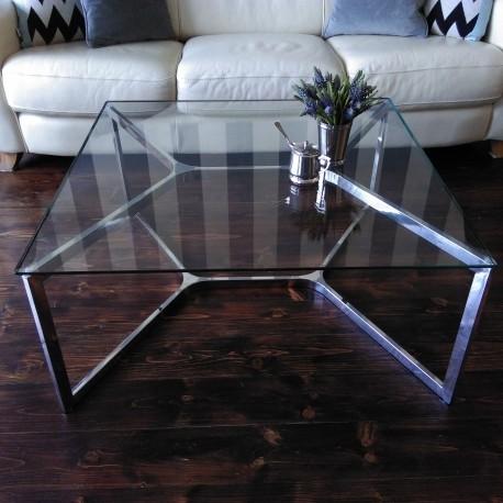 Niklowany stolik kawowy do salonu Modern Classic
