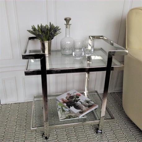 Elegancki szklany niklowany barek-stolik