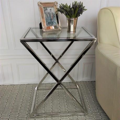 Niklowany szklany stolik boczny do wnętrz Modern Classic