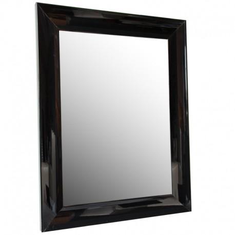 Lustro w czarnej drewnianej lakowanej ramie 60x80