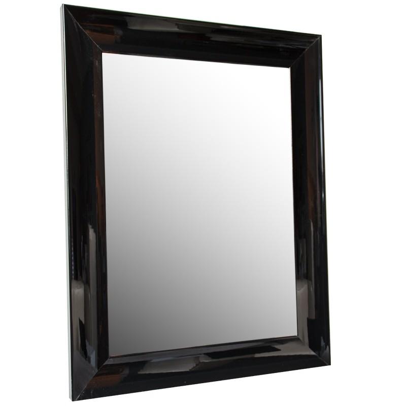 Lustro w czarnej drewnianej lakowanej ramie   66x86