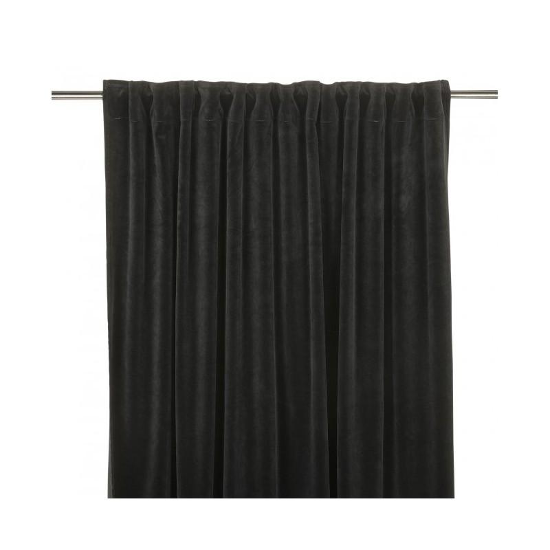 Welurowa zasłona 140x280 w kolorze czarnym