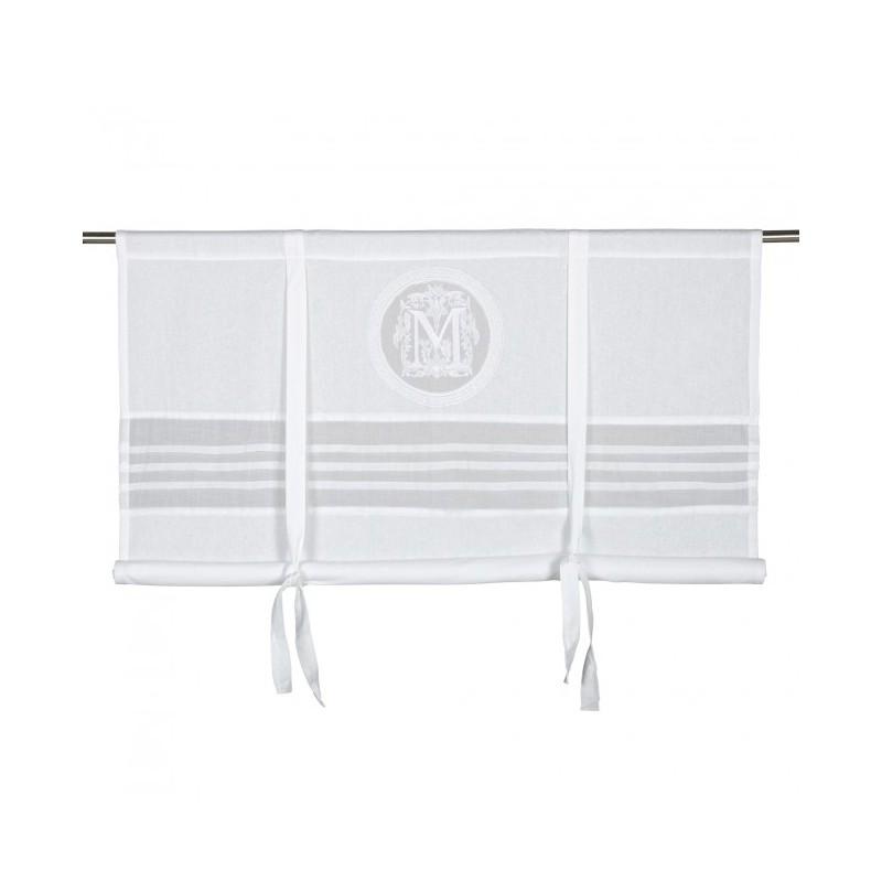 Prowansalska biała roleta z haftem Milla Maison 140