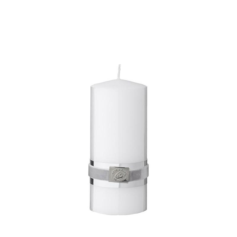 Lene Bjerre biała elegancka świeca z ozdobną taśmą