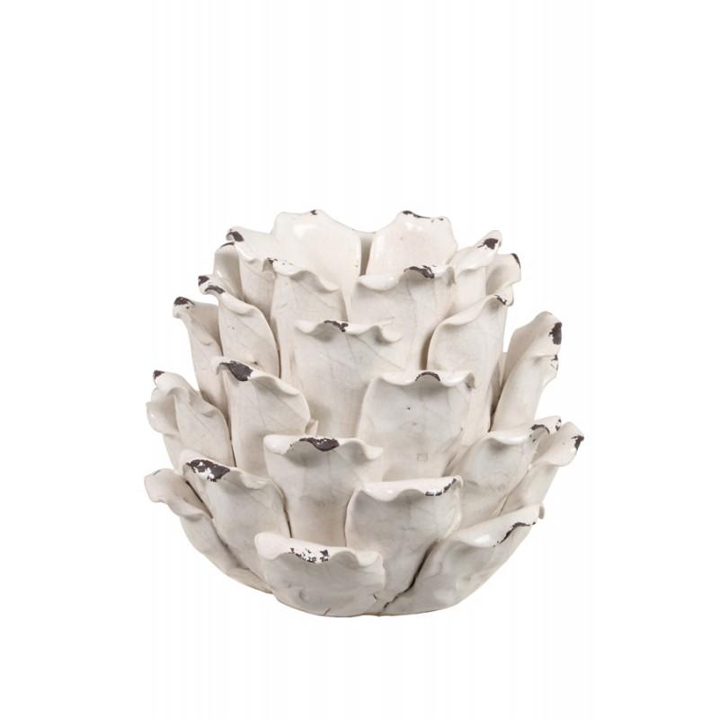 Biały kwiat ceramiczna podstawa pod świecę