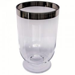 Szklany wazon ze złotą lamówką h24