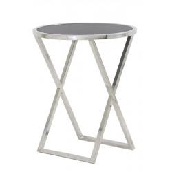 Nowoczesny niklowany stolik boczny/blat czarny marmur
