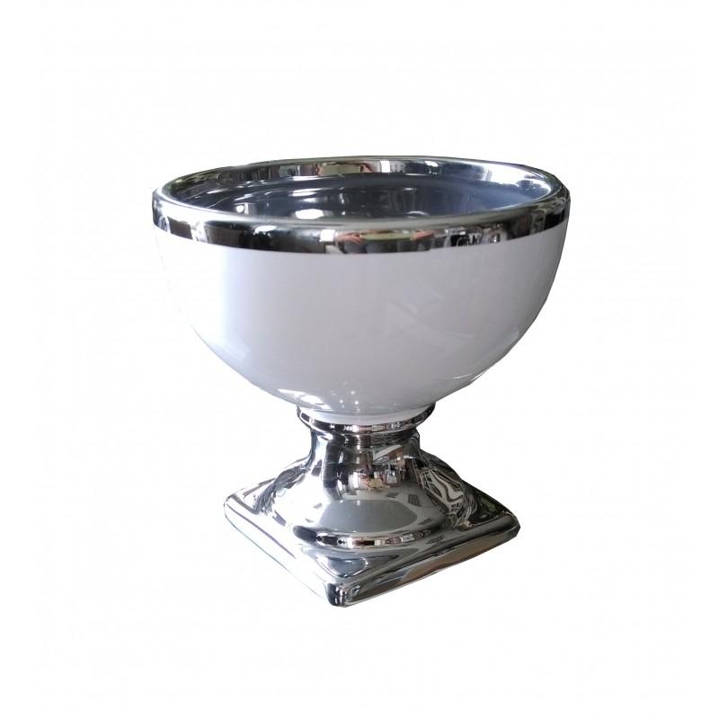 Biała ceramiczna doniczka z lamówką h12