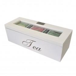 Białe drewniane pudełeczko/segregator na herbaty 22.5x8.5