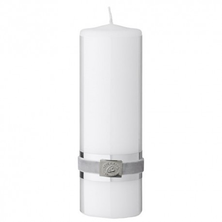 Lene Bjerre biała elegancka świeca h 18cm z ozdobną taśmą