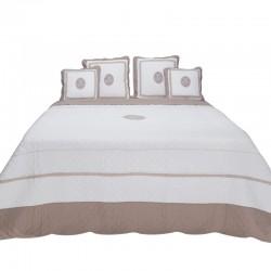 Elegancka bawełniana narzuta biel/brąz 180x260