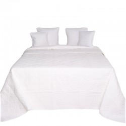 Bawełniana biała pikowana narzuta 180x250 w koniczynkę