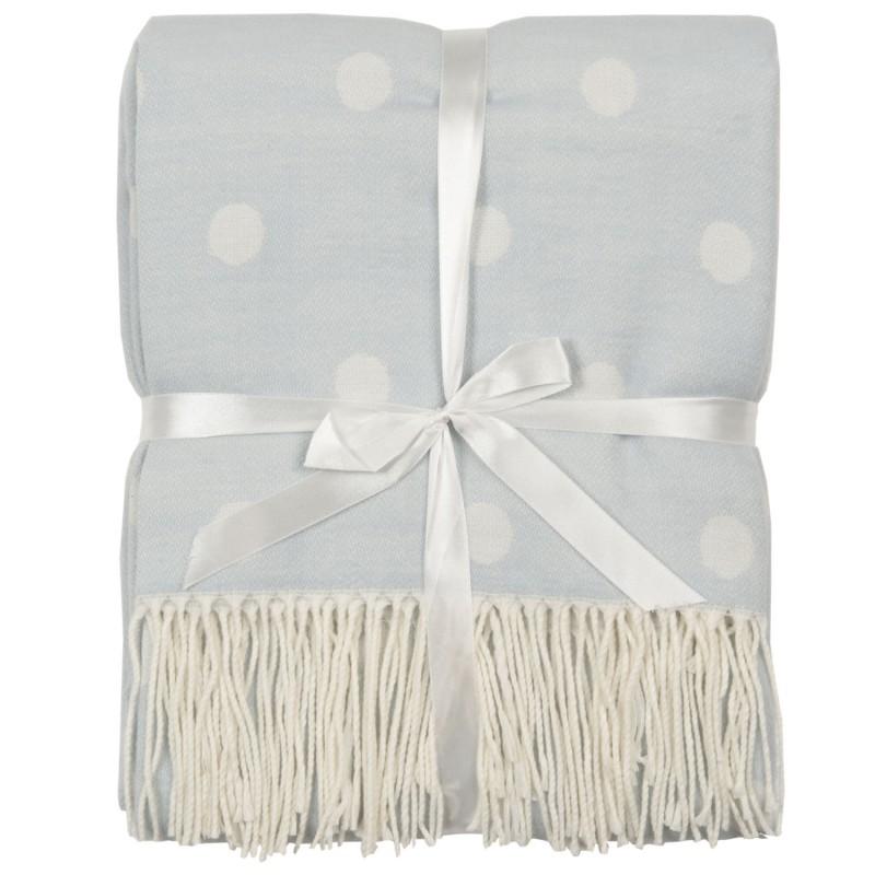 Clayre Eef błękitny pled z białymi frędzelkami na sofę, kanapę