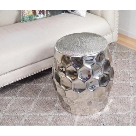 Aluminiowy niklowany stolik boczny/puffa