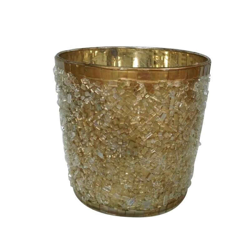 Szklany złoty  lampion h10 z kryształkami