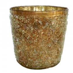 Szklany złoty h13 lampion z kryształkami