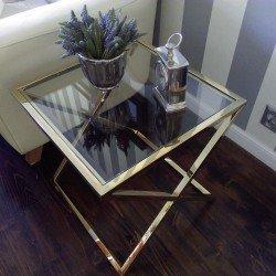 Złoty stolik boczny /nocny do wnetrz New York/Art Deco