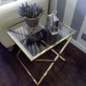 Złoty stolik kawowy/ boczny /nocny do wnętrz New York/Art Deco