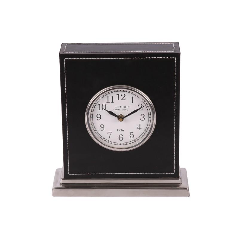 Czarny zegar Modern Classic. Skóra i nikiel.