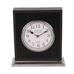 Czarny zegar26 x 28  Modern Classic. Skóra i nikiel.