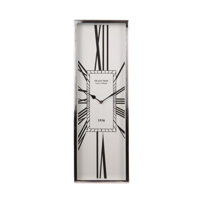 Niklowany zegar do salonu/dalni New York, Modern Classic 60x20