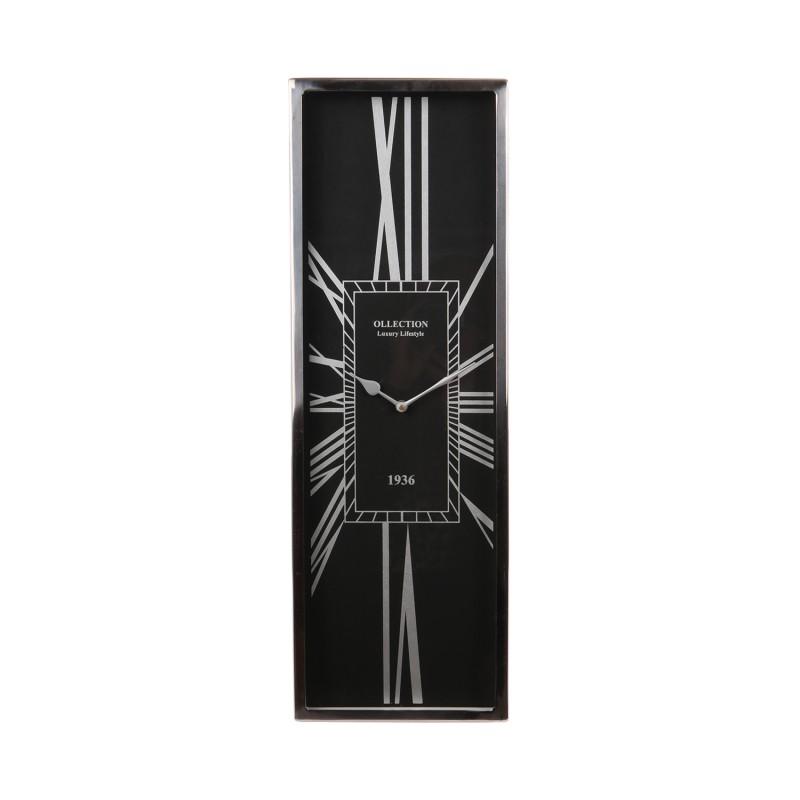 Czarny niklowany zegar do salonu/dalni New York, Modern Classic 60x20