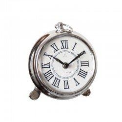 Uroczy niklowany zegar na trzech nóżkach