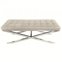 Niklowana ławka pikowane jasne siedzisko