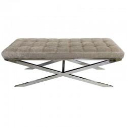 Niklowana ławka pikowane szaro brązowe siedzisko 122X42X48